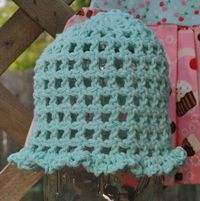 Cotton crochet mesh hat in aqua for newborns & infants - FREE SHIPPING. via Etsy.