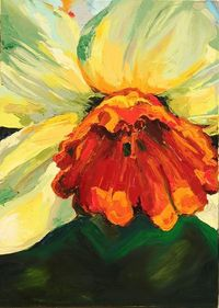 The Daffodil - oil on canvas, 50x70cm, palette knife colour study.