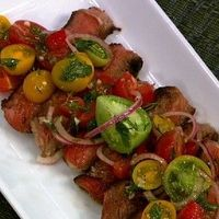 Michael Symon's Rib-Eye With Tomato Salad - the chew - ABC.com