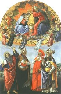 Sandro Botticelli - Coronation of Maria with the saints Johannes of the evangelist, Augustinus, Hieronymus and Eligius