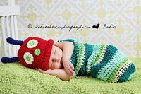 Baby Hungry Caterpillar Cocoon, Hat, Photography Prop, Crochet