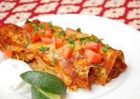 Chicken Enchiladas With Red Chili Sauce: No rehydrating dried chiles or even chopping up fresh ones. In fact, the secret to this dish is prob...[read more at Food Frenzy]