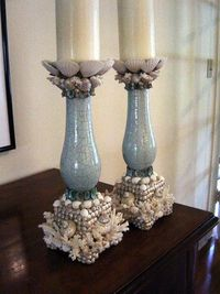Elegant Coral Candlesticks for the bath