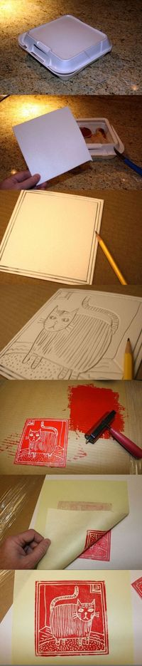 Styrofoam printmaking via