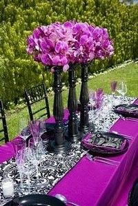 Wedding reception white purple centerpiece black i - White and purple decorations ...