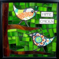 Hippie chicks By mosaic artist Charity Stewart of Portland, OR,