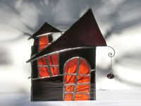 Stained Glass Candle Holder Halloween Haunted by FleetingStillness