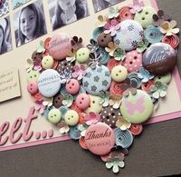 Cool heart collage with buttons and buttons