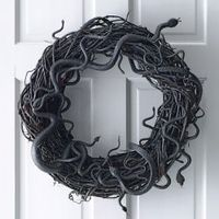 Hang this jet-black wreath wriggling on the front door to make your guests' entrances memorably creepy, just in time for Halloween.