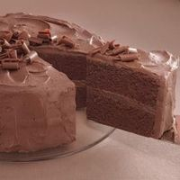Chocolate cake with chocolate buttercream frosting.