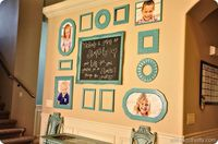 Gallery Wall arrangement- love the idea of having a gallery wal with a chalkboard so you can change the quote!!!