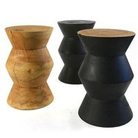 Onde Stool Table - Small side table shaped in solid Margosa wood. 10 dia x 16 H inches,