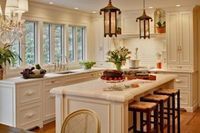 cabinets, windows (white with coral and green)