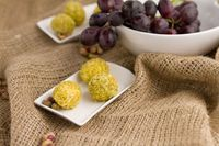 goat cheese covered grapes. 3 ingredients, 5 minutes