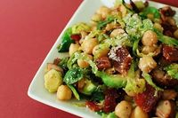 Warm Chickpea, Mushroom and Brussels Sprouts Salad