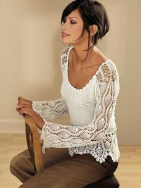 elegant spring / summer women crochet blouse
