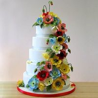 Great colors on this fondant and gumpaste poppy cake