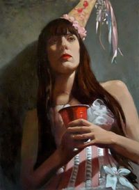 "Michael Foulkrod; Oil, 2011, Painting ""Birthday girl at Kag party"""