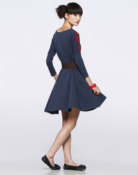 Neck Embrodiery Modal Knitted Dress