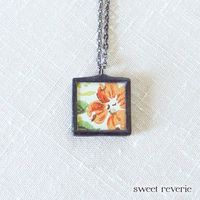 Coral Tangerine Orange Pressed Flower and Faux by asweetreverie, $23.00