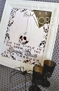 Cute Halloween/Snow White printable from Less Cake More Frosting. Her printables rock.