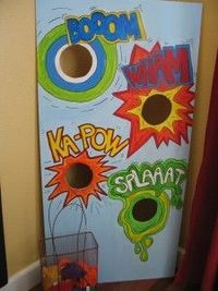 The bean bag toss game idea. Use thin fiberboard and cut out the holes with a jigsaw.Paint on the fun sound effect words. Super Fun to play since each time a kiddo gets a bean bag through the hole they shout out the sound effect.