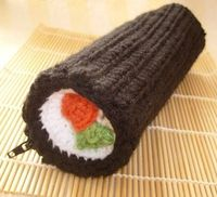 sushi roll pencil case. free pattern. back to school -- for B.